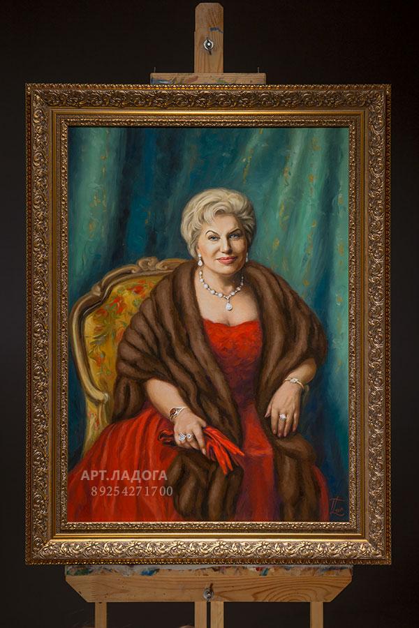 Классический женский портрет по фотографии на холсте